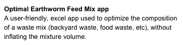 Optimal Earthworm Feed Mix app 